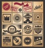 Conjunto de cupones, de escrituras de la etiqueta y de boletos retros promocionales ilustración del vector