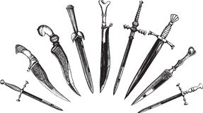Conjunto de dagas orientales y europeas Foto de archivo libre de regalías