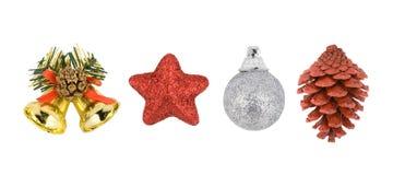 Conjunto de decoraciones del árbol de navidad foto de archivo libre de regalías