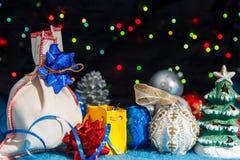 Conjunto de decoraciones del Navidad-árbol Foto de archivo