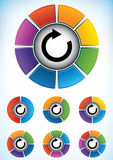 Conjunto de diagramas de la rueda con los componentes Foto de archivo libre de regalías