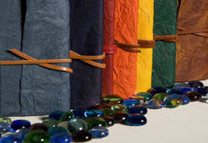 Conjunto de diarios coloreados en una fila Fotos de archivo libres de regalías