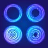 Conjunto de dimensiones de una variable circulares del resplandor azul Fotos de archivo libres de regalías