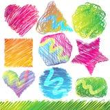 Conjunto de dimensiones de una variable Doodled coloridas Foto de archivo libre de regalías