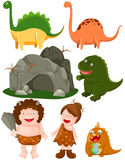 Conjunto de dinosaurios y del hombre de las cavernas stock de ilustración