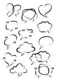 Conjunto de discurso de la burbuja Cepillo de Digitaces Mano del garabato del vector dibujada stock de ilustración