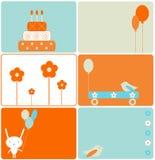 Conjunto de diseños del cumpleaños ilustración del vector