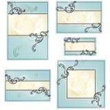 Conjunto de diseños rococóes azules de la boda Imagen de archivo