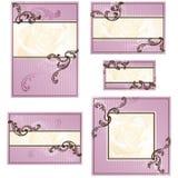 Conjunto de diseños rococóes rosados de la boda Imagen de archivo