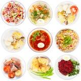 Conjunto de diversa comida sabrosa Fotografía de archivo libre de regalías