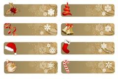 Conjunto de diversas banderas de la Navidad Imagen de archivo libre de regalías