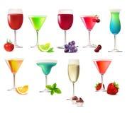 Conjunto de diversas bebidas del partido Fotos de archivo