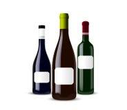 Conjunto de diversas botellas Foto de archivo libre de regalías