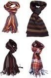 Conjunto de diversas bufandas multicoloras Imágenes de archivo libres de regalías