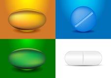 Conjunto de diversas cápsulas y medicinas stock de ilustración