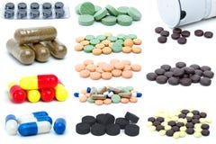 Conjunto de diversas píldoras y tablillas Foto de archivo libre de regalías