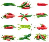 Conjunto de diversas pimientas de chile Imagen de archivo