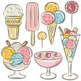 Conjunto de diverso helado Foto de archivo libre de regalías