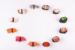 Conjunto de diverso sushi Fotografía de archivo libre de regalías