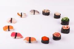 Conjunto de diverso sushi Foto de archivo