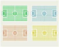 Conjunto de diversos campos de fútbol de los colores   Fotografía de archivo