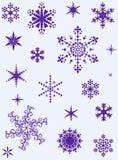 Conjunto de diversos copos de nieve Imagen de archivo