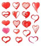 Conjunto de diversos corazones Acuarela del drenaje de la mano Imágenes de archivo libres de regalías
