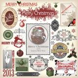 Conjunto de diversos diseños de la Navidad Foto de archivo libre de regalías