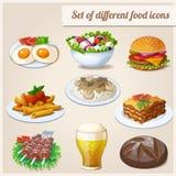 Conjunto de diversos iconos del alimento Fotografía de archivo libre de regalías