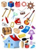 Conjunto de diversos objetos Fotos de archivo libres de regalías