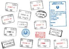 Conjunto de diversos sellos de visa del pasaporte Imagen de archivo libre de regalías