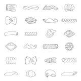 Conjunto de diversos tipos de pastas Imágenes de archivo libres de regalías