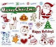 Conjunto de doodles de la Navidad Fotos de archivo libres de regalías
