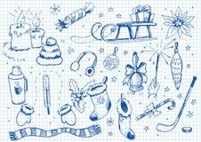 Conjunto de doodles. invierno Imagen de archivo libre de regalías