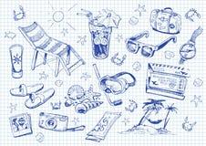 Conjunto de doodles. vacaciones ilustración del vector