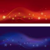 Conjunto de dos banderas del invierno Fotografía de archivo