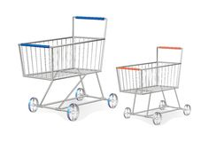Conjunto de dos carros de compras metálicos Imagen de archivo libre de regalías
