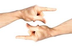 Conjunto de dos manos con señalar el dedo Fotografía de archivo libre de regalías