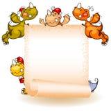 Conjunto de dragones. bandera Fotos de archivo