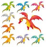Conjunto de dragones coloreados. Foto de archivo libre de regalías