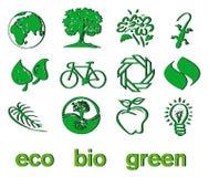 Conjunto de eco verde y bio iconos, etiquetas engomadas y etiquetas Imágenes de archivo libres de regalías