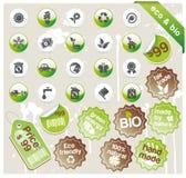 Conjunto de eco y bio iconos, etiquetas engomadas y etiquetas Fotografía de archivo libre de regalías