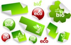 Conjunto de eco y de bio etiquetas engomadas Imágenes de archivo libres de regalías