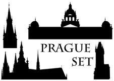 Conjunto de edificios en Praga stock de ilustración