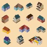 Conjunto de edificios isométricos Imagen de archivo