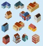Conjunto de edificios isométricos Imágenes de archivo libres de regalías