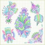 Conjunto de elemento de la flor Imagen de archivo