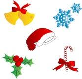 Conjunto de elemento de la Navidad Fotografía de archivo libre de regalías
