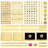 Conjunto de elementos amarillo del diseño de Web. Fotos de archivo