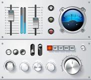 Conjunto de elementos analogico del interfaz de controles, vector Imagen de archivo
